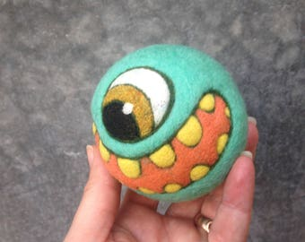 Needlefelted Happy Monster Jinge Ball with Bell Ready to Ship