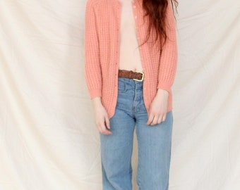 Knit Cardigan Pink Textured Knit Sweater Dusty Coral Knit Cardigan