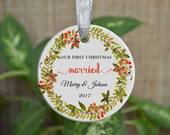 Personalized Christmas Ornament, Our First Christmas married, Custom Ornament, Ornament Bride gift, Wedding gift, Christmas gift. o85
