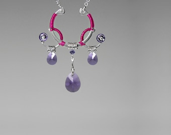 Purple Swarovski Crystal Pendant with Hot Pink Wire Wrapping, Swarovski Necklace, Steel, Feminine Earrings, Larissa v3