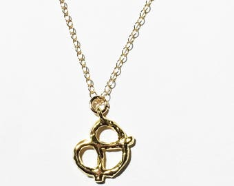Pretzel necklace, gold necklace, gold pendant, charm necklace,  layering necklace, holiday gift, vermeil pendant, thetrendyones