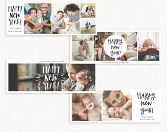 New Year Facebook Timeline Covers Set of 4, Happy New Year Facebook timeline, New Year Facebook cover template, 2018 Facebook Template