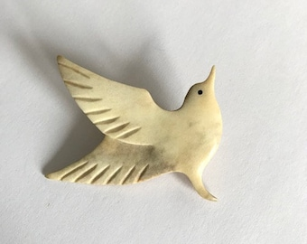 Vintage - Hand Carved Bone - Bird - Brooch - Pin