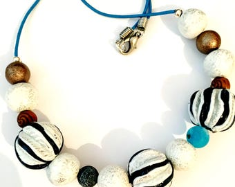 Leather Polymer Clay necklace Chain,Bohemian Necklace,Beaded Necklace, Boho Beads Necklace
