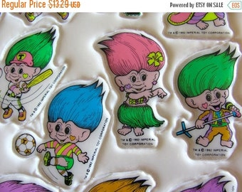 ON SALE Rare Vintage Oversize Troll Doll Wishnik Puffy Sticker Sheet - 80's Iconic Toy Doll Neon Sport Soccer Hula Cheerleader Skate Watersk