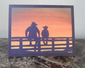 Cowboy and boy card, set of 4