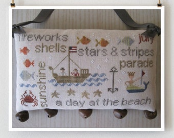 WITH THY NEEDLE July Word Play counted cross stitch patterns at thecottageneedle.com summer doorbells