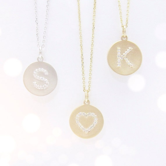 Diamond initial disc necklace uppercase with center bail like this item mozeypictures Image collections