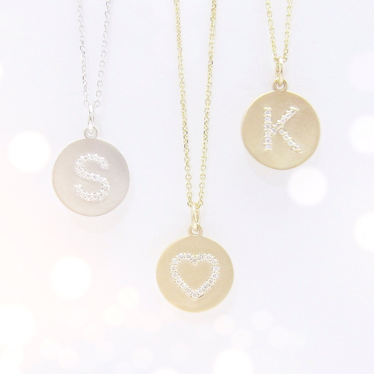 Diamond initial disc necklace uppercase with center bail zoom mozeypictures Image collections
