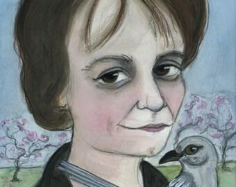 Harper Lee Art Print, Literary Portrait (6x8) To Kill A Mockingbird Writer Portrait, Mocking Bird Art, Literature Art