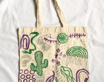 Glittery Tote Bag / Handpainted Cotton Bag by Sam Pletcher / 15 inches By 15 inches / Glitter, Metallic Purple and Green / Double Sided To