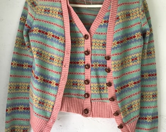 Vintage Betsey Johnson Alley Cat Intarsia Sweater Vest and Cardigan Set Petite