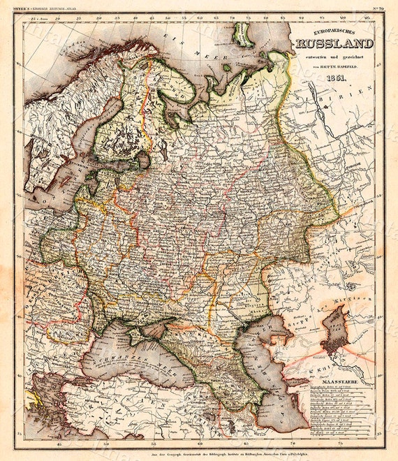 Giant vintage historic 1851 map of russia antique old world giant vintage historic 1851 map of russia antique old world restoration style map fine art print wall map poster gumiabroncs Gallery