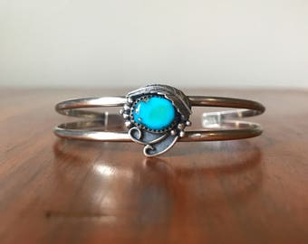 Rare Vintage Sleeping Beauty Turquoise and Sterling Silver Cuff - Southwestern Jewelry