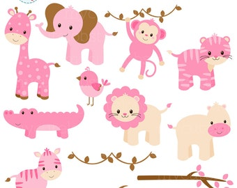 Pink Safari Animals Clipart Set - lion, crocodile, hippo, tiger, branches, giraffe - personal use, small commercial use, instant download