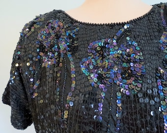 Black Sequin Top Holiday Special Occasion Beaded Top