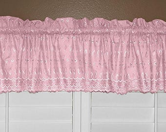 lovemyfabric Scalloped bottom Cotton Eyelet Fabric Valance/Tier Window Treatment