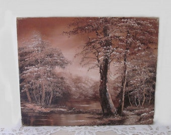 vintage Forest Painting on Stretched Canvas. Monochromatic brown woods & watering hole landscape. Country Cottage Cabin style. Original Art.