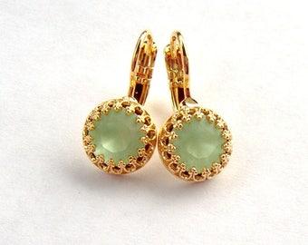 Mint Green opal matte rhinestone gold leverback earrings . Chrysolite opal rhinestone earrings . 8mm . Swarovski crystal . unique gift