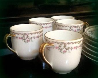 6 Antique HAVILAND Demitasse Cups & Saucers - Pink Rose Garland - Limoges France