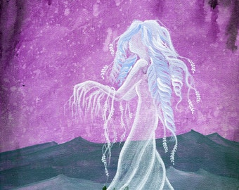 """Don't Close Your Eyes - 8""""x10"""" Art Print - Whimsical Ghost Tree with Purple Sky - Art by Marcia Furman"""