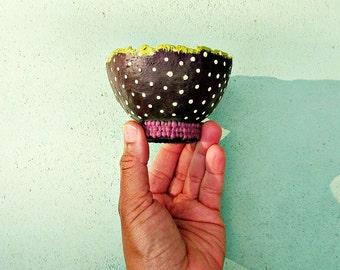 Mini Brown and Cream Polka Dot Paper Mache Pedestal Bowl: Peggy