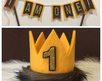 Wild One Wild Things Mini Crown and I AM ONE Cake Bunting SET Cake Banner Smash Cake Photo Prop 1st Birthday Cake Banner Cake Bunti