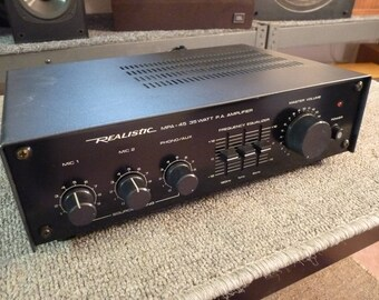 Realistic MPA-45 Commercial Amplifier - 35 Watts Single Channel - Mic Line Phono Inputs - Compact Chassis
