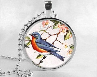Bluebird Necklace Art Pendant Jewelry with Ball Chain, Blue Bird Jewelry, Blue Bird of Happiness