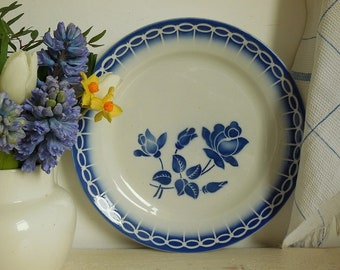 Vintage French serving plate, blue and white