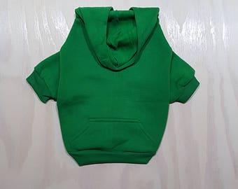 Green Zip Up Dog Hoodie - Dog Sweater - Dog Clothing