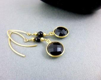 Black Onyx Dangles, Chakra Earrings, Root Chakra Earrings, 14K Gold Fill, Healing Crystals, Chakra Energy, Healing Chakra Jewelry