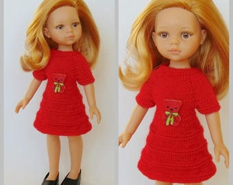 Doll clothes, doll, dress, Paola Reina, Corolle Les Cheries, Kathe Kruse dolls, Minouche, Little Darling doll, hearts4hearts doll, knitting