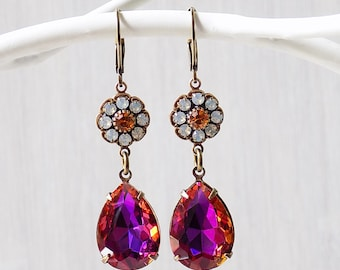 Topaz and opal, Rhinestone earring, floral earring, baroque earrings, vintage style, pink and orange, hot pink earrings, orange earrings