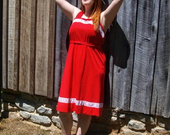 Red & White Polka Dot Sundress Plus Size Rockabilly Pin Up