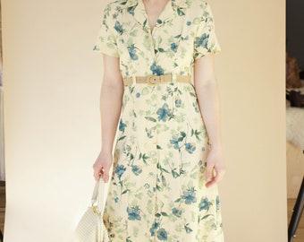 Vintage Yellow Floral Button Down Dress