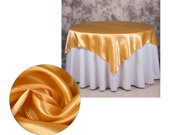 1pcs Satin Tablecloth Overlay Top Wedding Engagement Anniversary Birthday Reception Ceremony Bouquet Christening Baptism Table Decoration