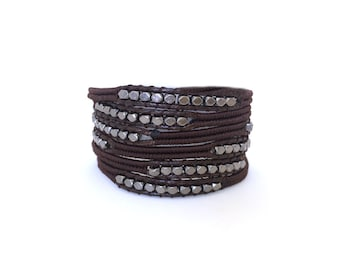 Wrap bracelet Men's gunmetal vegan
