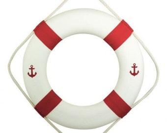 maritime decoration lifebuoy red- white- anchor 50 cm*