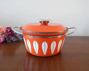 Cathrineholm Lotus Orange Enamel Dutch Oven Pot Pan, Norway, Mid Century Kitchenware, Grete Prytz Kittelsen, Midcentury Scandinavian Cookwar
