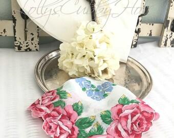 """Vintage Handkerchief, Wedding Hankie,  Mother of the Bride, Floral, Bride,  Bridesmaid Hanky,  Farmhouse  13"""""""