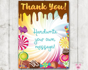 INSTANT DOWNLOAD Candy Thank You Cards, Candy Party Thank You Cards, Blank Thank You Cards, Handwrite Thank You Cards, Candy Birthday Party