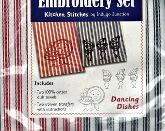 Dancing Dishes Dish Towel Embroidery Set 2 Towels + 2 Transfer Pattern Kit