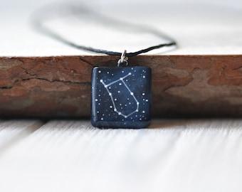 Gemini necklace Gemini pendant Boyfriend gift Cosmic jewelry May birthday Sister Horoscope Mens blue Zodiac Birth sign Anniversary Astrology
