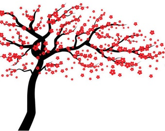 Red Cherry Blossom Tree Wall Decal, Wall Tree Decal, Tree Wall Decal, Cherry Blossom Tree Wall Decal, Large Tree Wall Decal, tree decals