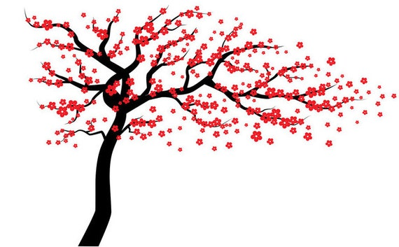 red cherry blossom tree wall decal wall tree decal tree wall rh etsy com Cherry Blossom Border Clip Art Baby Clip Art Cherry Blossom