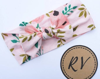 Light Pink Floral Knotted Baby Headband