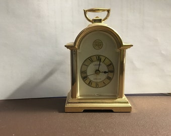 1970s Vintage Brass & Glass Tempus Fugit #4RE872 Linden Battery Operated Miniature Carriage Alarm Clock