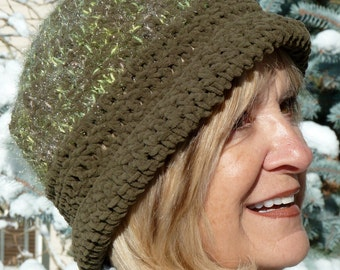 Avocado green hat in suede yarn, soft winter crochet hat, original and unique women's winter hat, whimsical bauble attached, cute hat