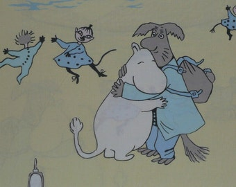 very old Moomin fabric Reunion at the Harbour